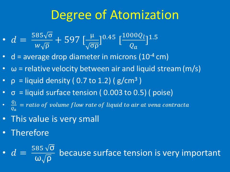 Degree of Atomization 𝑑= 585 σ 𝑤 ρ +597 [ μ σρ ] 0.45 [ 1000 𝑄 𝑙 𝑄 𝑎 ] 1.5. d = average drop diameter in microns (10-4 cm)